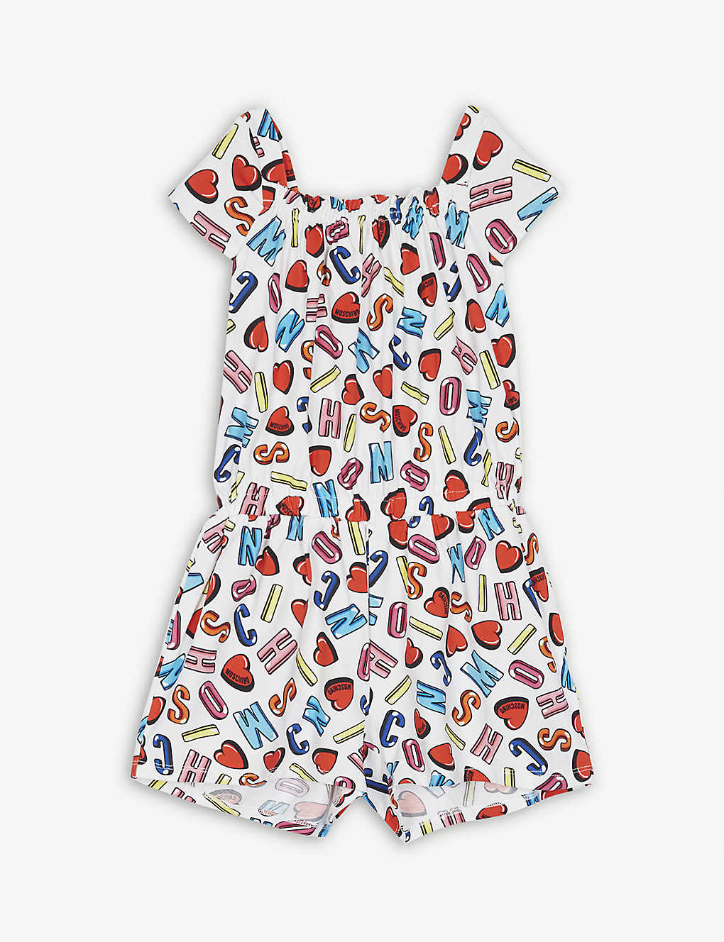MOSCHINO - Letter heart print cotton-blend playsuit 4-14