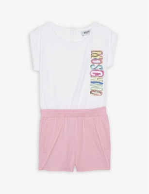MOSCHINO Sequin logo cotton playsuit 4-14 years