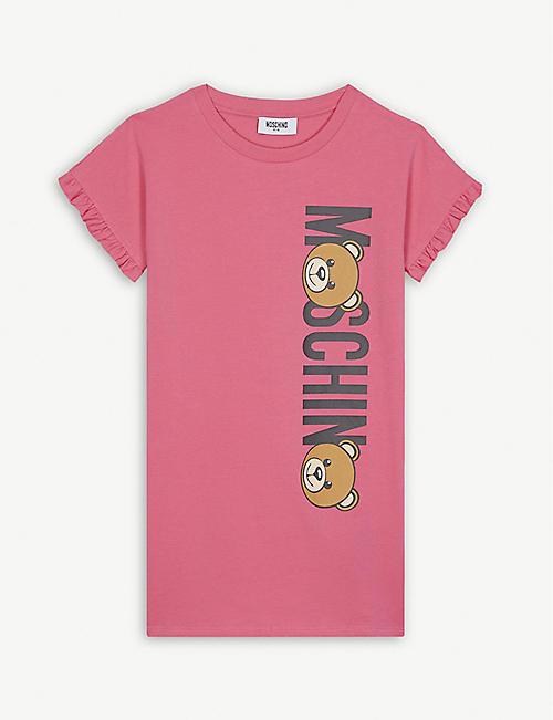 8fedf00adb1 MOSCHINO Teddy logo ruffled cotton-blend dress 4-14 years