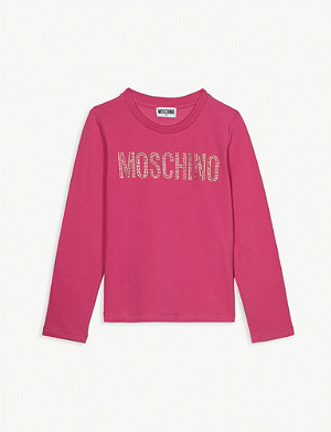 MOSCHINO Crystal logo long-sleeved cotton-blend T-shirt 4-14 years