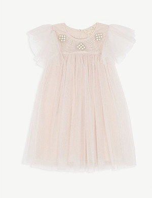 TUTU DU MONDE Celestia faux-pearl tulle shift dress 4-11 years