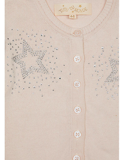 TUTU DU MONDE Galaxy star diamanté-embellished cotton cardigan 4-11 years