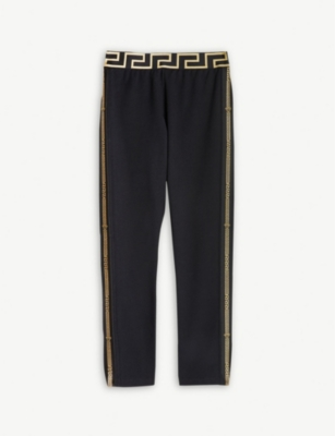 YOUNG VERSACE Greca waistband cotton-blend trousers 4-14 years