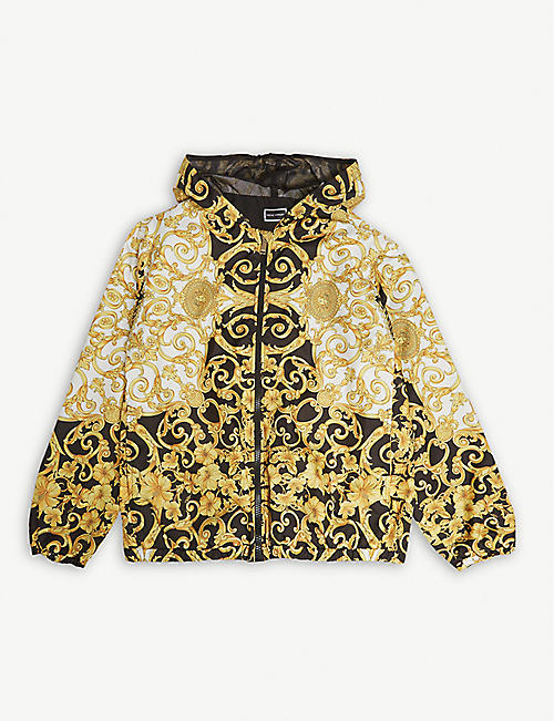 YOUNG VERSACE Baroque print hooded shell jacket 10-14 years