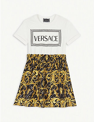 VERSACE: Logo and baroque print cotton T-shirt dress 4-14 years