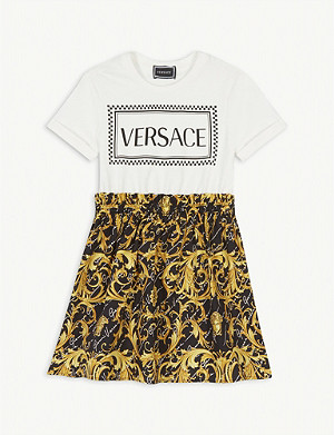 VERSACE Logo and baroque print cotton T-shirt dress 4-14 years