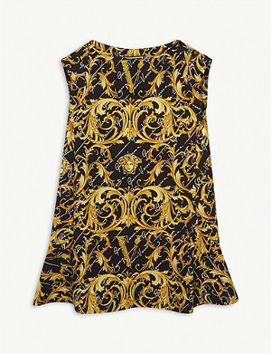 VERSACE Baroque and medusa print sleeveless cotton dress 4-14 years