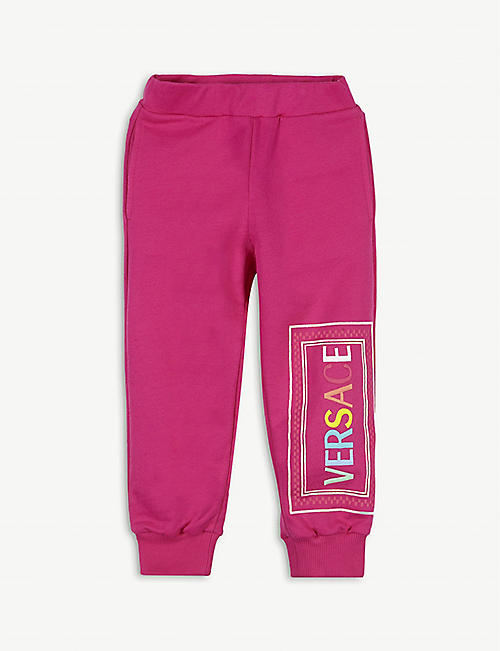 VERSACE: Logo print cotton jogging bottoms 4-14 years