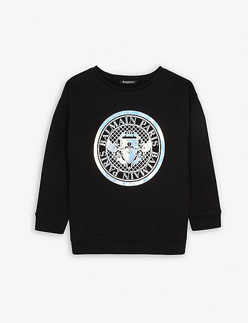 b160db8b1b2f3b BALMAIN Holographic logo cotton sweatshirt 6-16 years