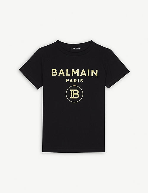 BALMAIN Glitter logo cotton T-shirt 4-14 years