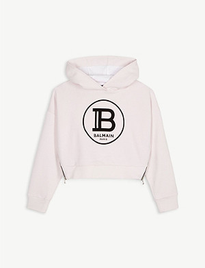 BALMAIN Logo cotton-jersey cropped hoody 4-14 years