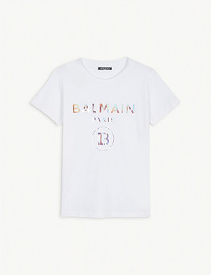 BALMAIN Rainbow logo cotton t-shirt 2-16 years