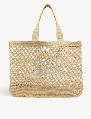 CHLOE Love raffia shoulder bag