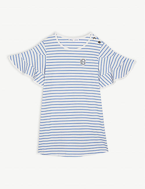 4e21d205966ee CHLOE Frilled sleeve striped cotton dress 4-14 years
