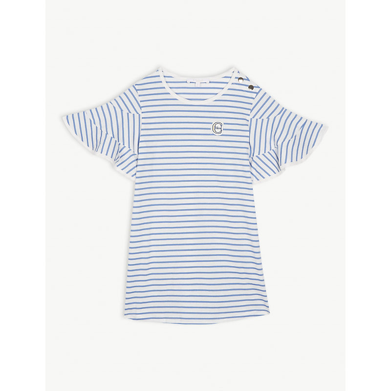 CHLOÉ | Frilled Sleeve Striped Cotton Dress 4-14 Years | Goxip