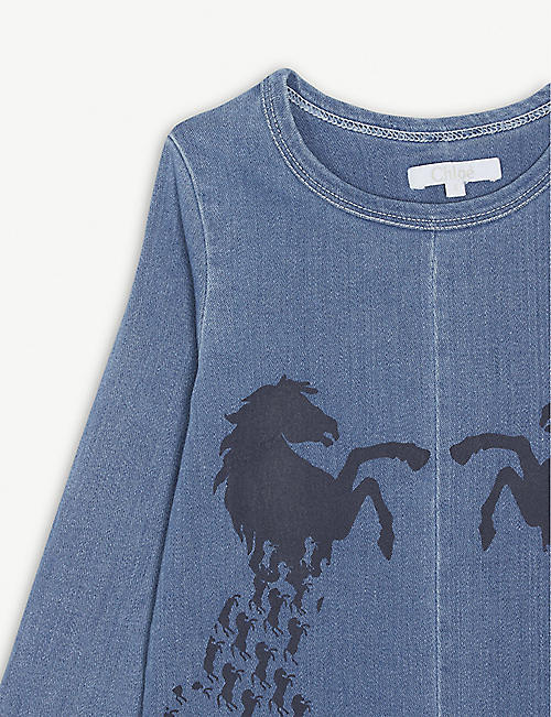 CHLOE Horse logo denim T-shirt dress 4-14 years