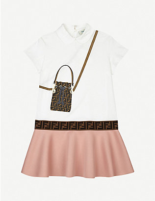 FENDI: Trompe L'Oeil logo-print cotton-blend mini dress 4-14 years