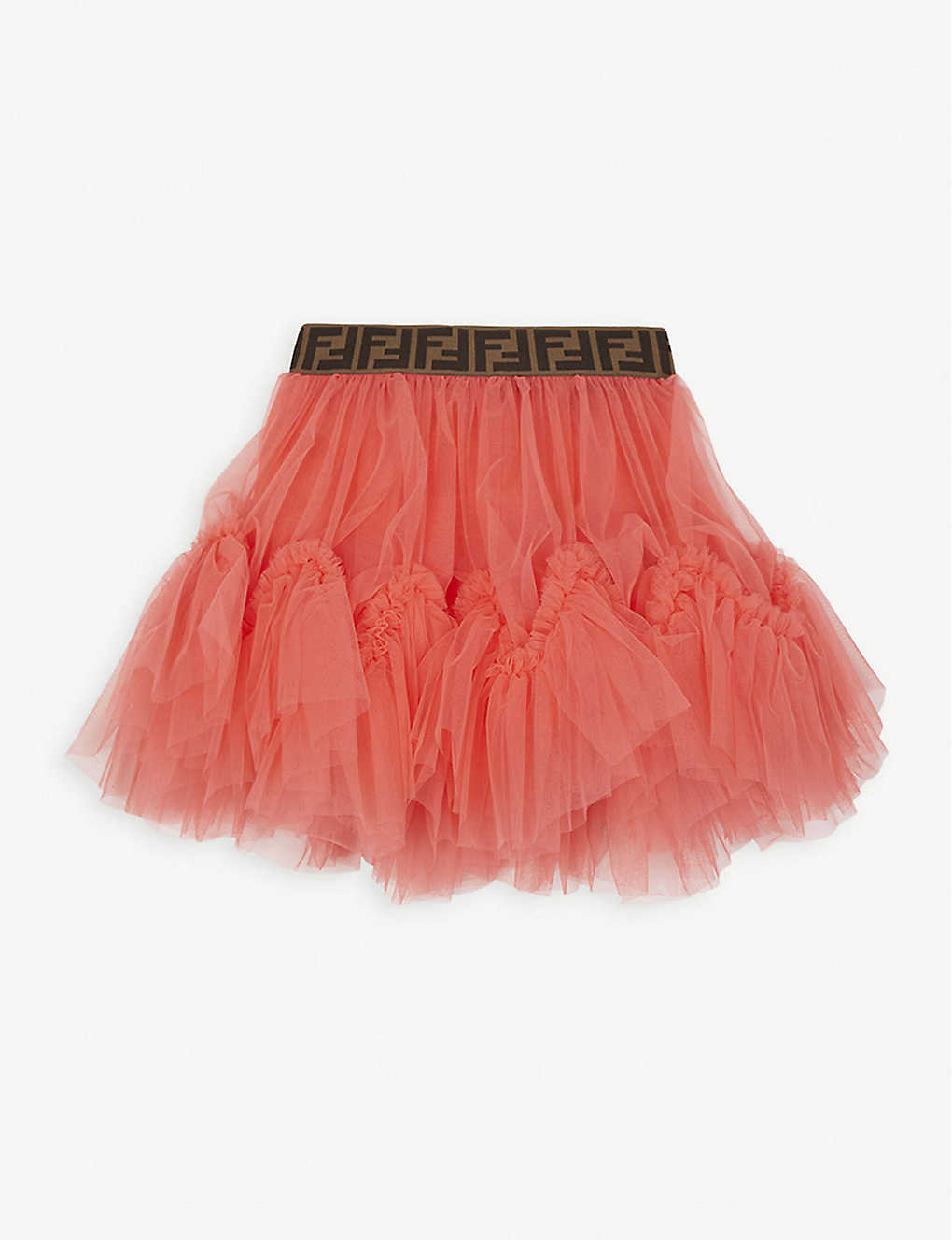 FENDI: Logo detail tulle tutu skirt 4-14 years