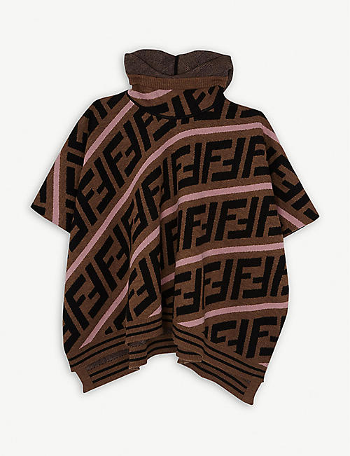 FENDI FF logo cotton-blend knitted poncho 6-8 years