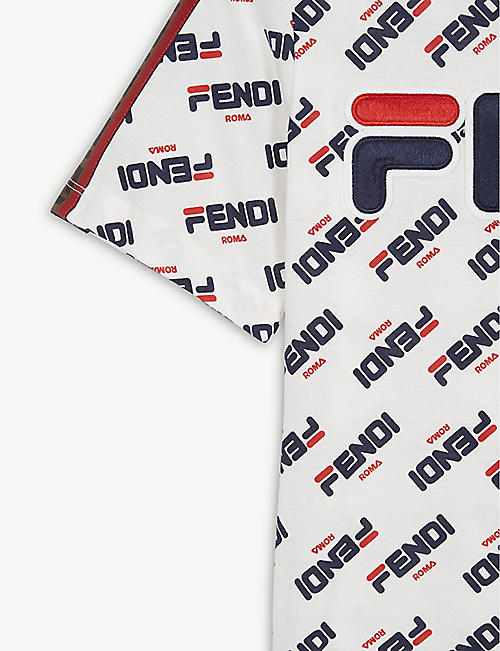 FENDI Fendi x Fila logo-print cotton T-shirt 4-14 years