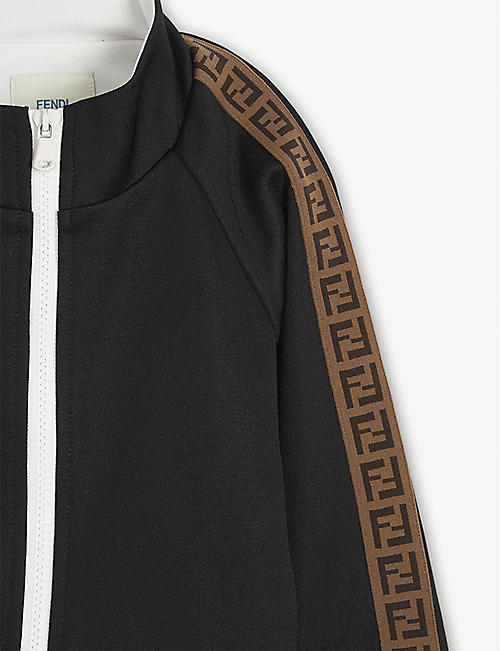 FENDI Logo tape zip-through woven top 4-6 years