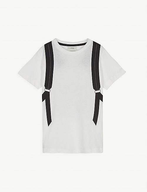 FENDI: Backpack graphic cotton T-shirt 4-14 years