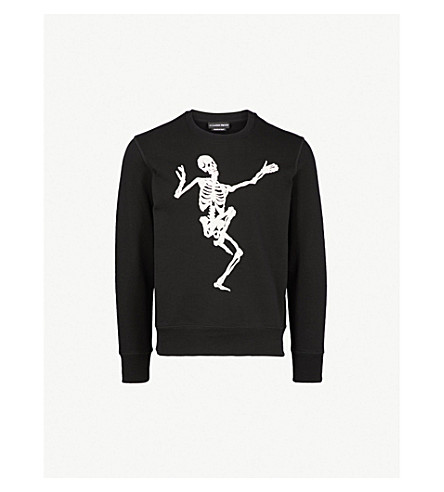 ab22a9c2 ALEXANDER MCQUEEN Dancing Skeleton cotton-jersey sweatshirt (Black+ivory