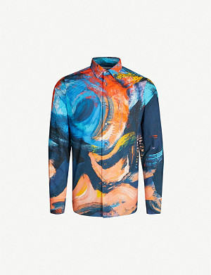 ALEXANDER MCQUEEN Painter-print slim-fit cotton-poplin shirt