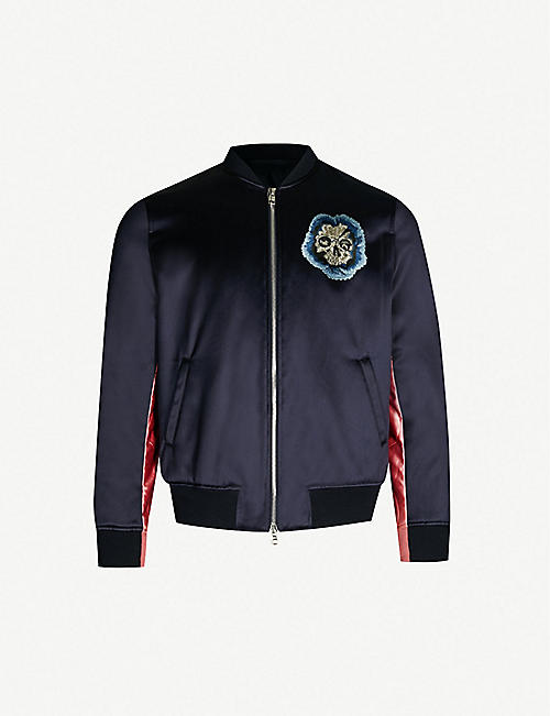 e87f4053ef6 ALEXANDER MCQUEEN Skull-embroidered two-tone satin bomber jacket