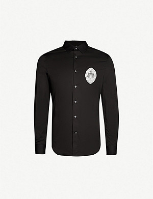 ALEXANDER MCQUEEN Skeleton-patch cotton-blend shirt