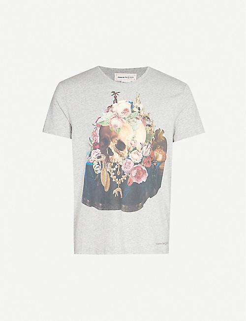 7e0021a0 ALEXANDER MCQUEEN Floral skull-print cotton-jersey T-shirt