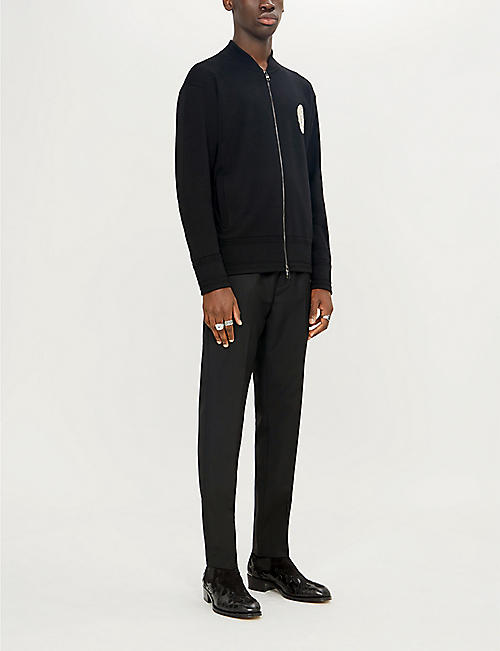 ALEXANDER MCQUEEN Embroidered skull wool bomber cardigan