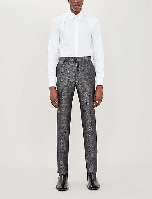 ALEXANDER MCQUEEN Slim-fit tapered-leg lurex trousers