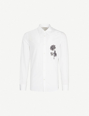 ALEXANDER MCQUEEN Floral-embroidered slim-fit cotton shirt