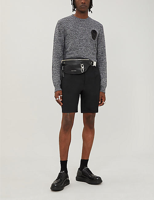 ALEXANDER MCQUEEN Skull-appliqué wool and cashmere-blend jumper