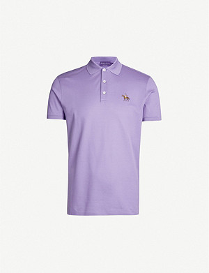 RALPH LAUREN PURPLE LABEL Logo-embroidered cotton-piqué polo shirt
