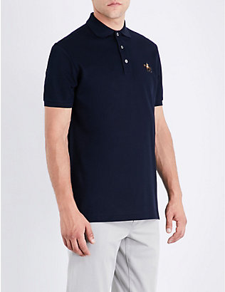 RALPH LAUREN PURPLE LABEL: Logo cotton polo-piqué shirt