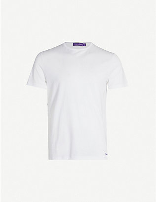RALPH LAUREN PURPLE LABEL: Logo-embroidered cotton-jersey T-shirt
