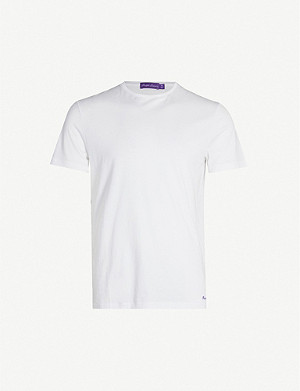 RALPH LAUREN PURPLE LABEL Logo-embroidered cotton-jersey T-shirt