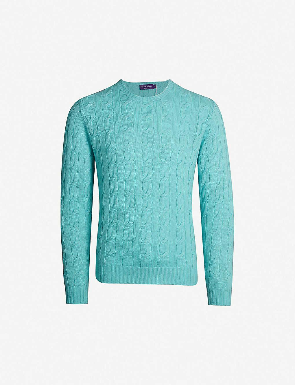 Clothing, Shoes & Accessories Able Brand New Ralph Lauren Pure Cashmere Cable Knit Jumper Purple Size M