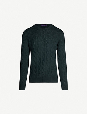 RALPH LAUREN PURPLE LABEL Cable-knit cashmere jumper