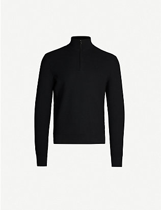 RALPH LAUREN PURPLE LABEL: Stand collar wool and cashmere-blend sweatshirt