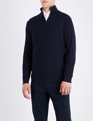 RALPH LAUREN PURPLE LABEL Stand collar wool and cashmere-blend sweatshirt