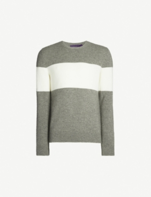 RALPH LAUREN PURPLE LABEL Striped cashmere jumper
