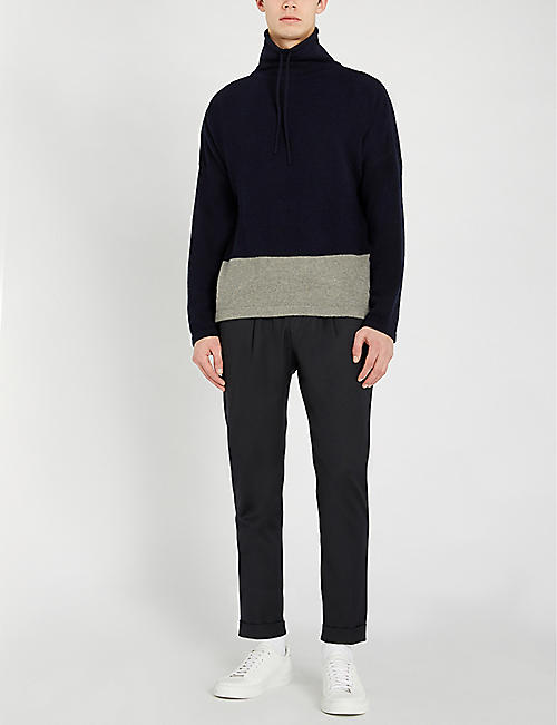 RALPH LAUREN PURPLE LABEL Colour block wool and cashmere-blend jumper