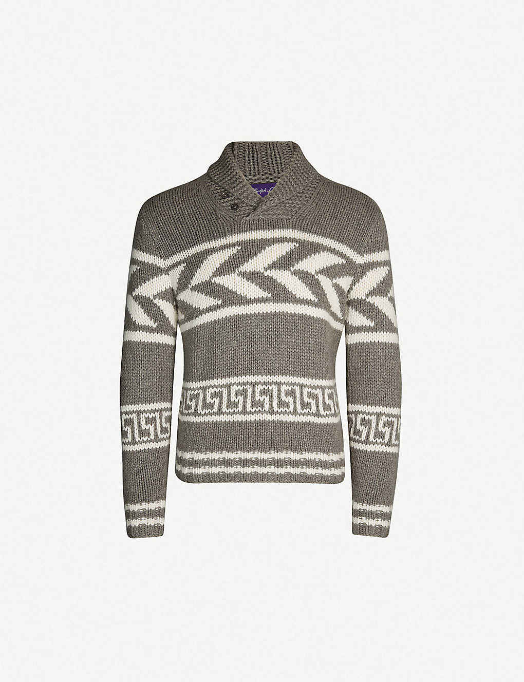 7bcf01c5a RALPH LAUREN PURPLE LABEL - Geometric-pattern cashmere jumper ...