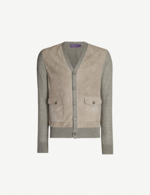 RALPH LAUREN PURPLE LABEL V-neck cashmere and suede cardigan