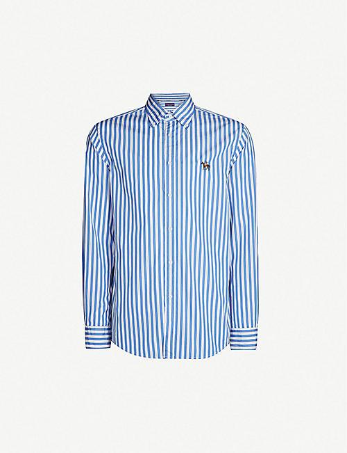 493e292d RALPH LAUREN PURPLE LABEL Striped regular-fit button-down cotton shirt
