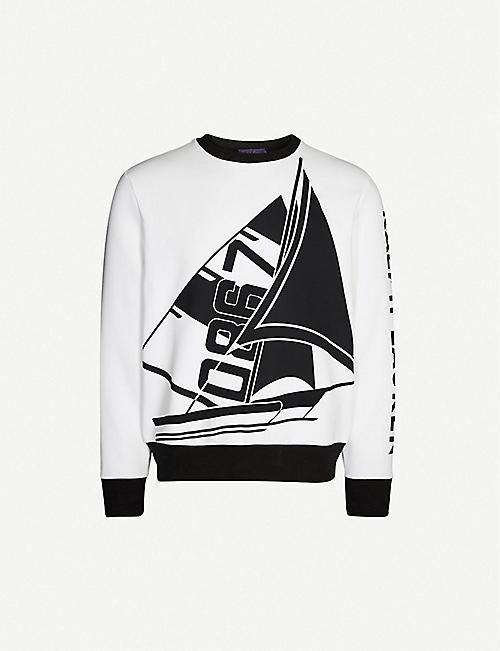 5796821e7e8f RALPH LAUREN PURPLE LABEL Boat-print cotton-blend sweatshirt