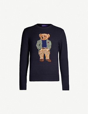 RALPH LAUREN PURPLE LABEL Bear-intarsia cashmere-blend jumper
